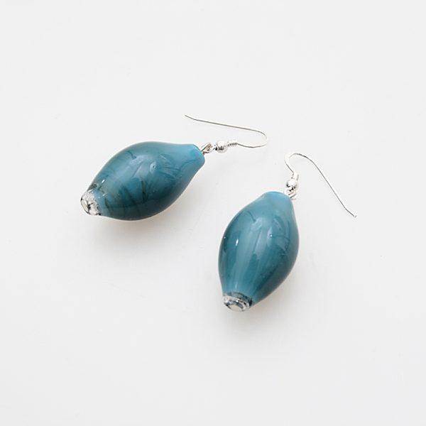 earrings venice murano glass magenta petrol green