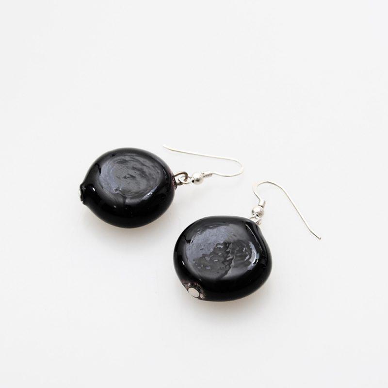 earrings venice murano glass maratea black