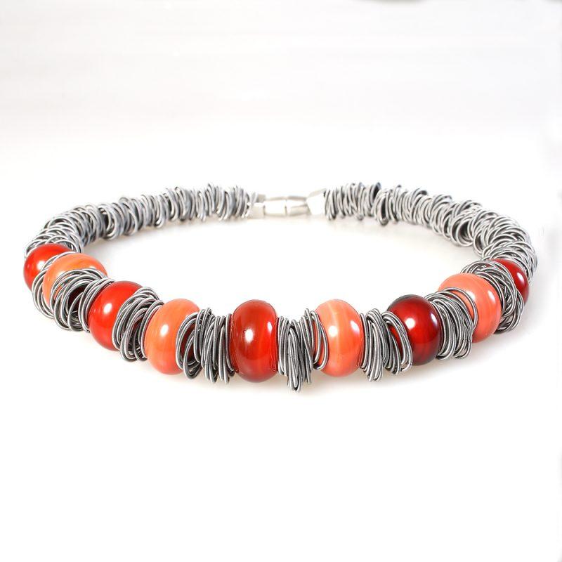 necklace venice murano glass farida orange