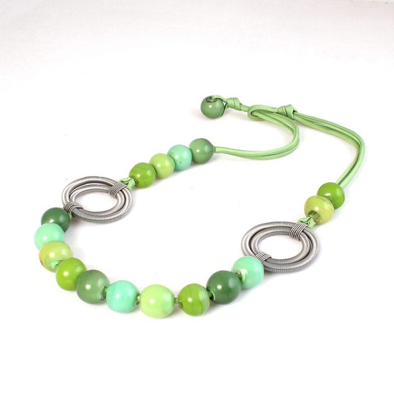 necklace venice murano glass grace light green