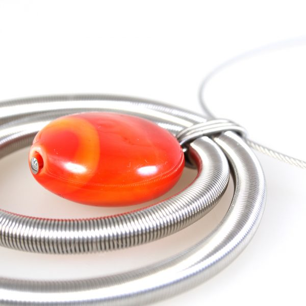 necklace venice murano glass indira orange