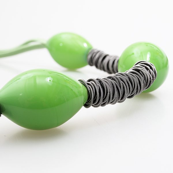 necklace venice murano glass magenta light green