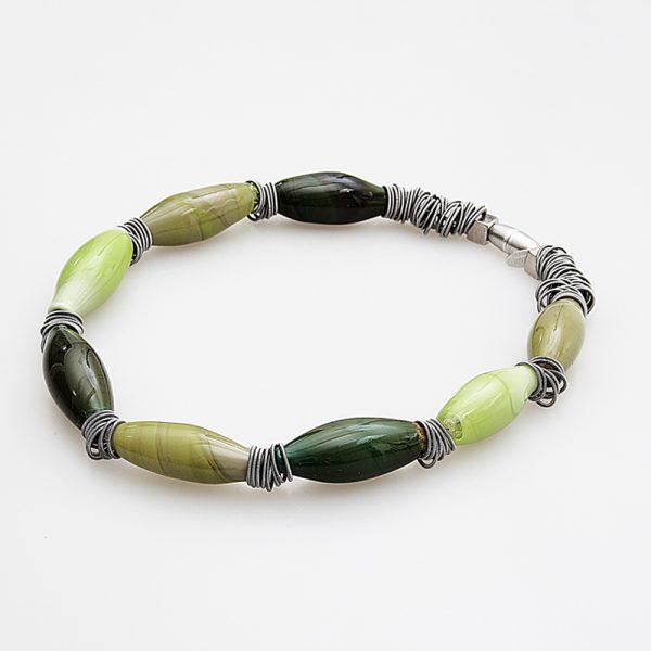 necklace venice murano glass malcontenta dark green
