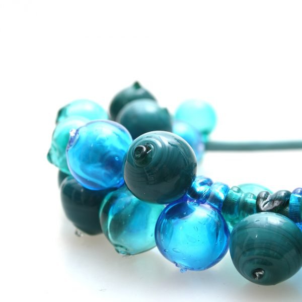 necklace venice murano glass mimosa seagreen detail