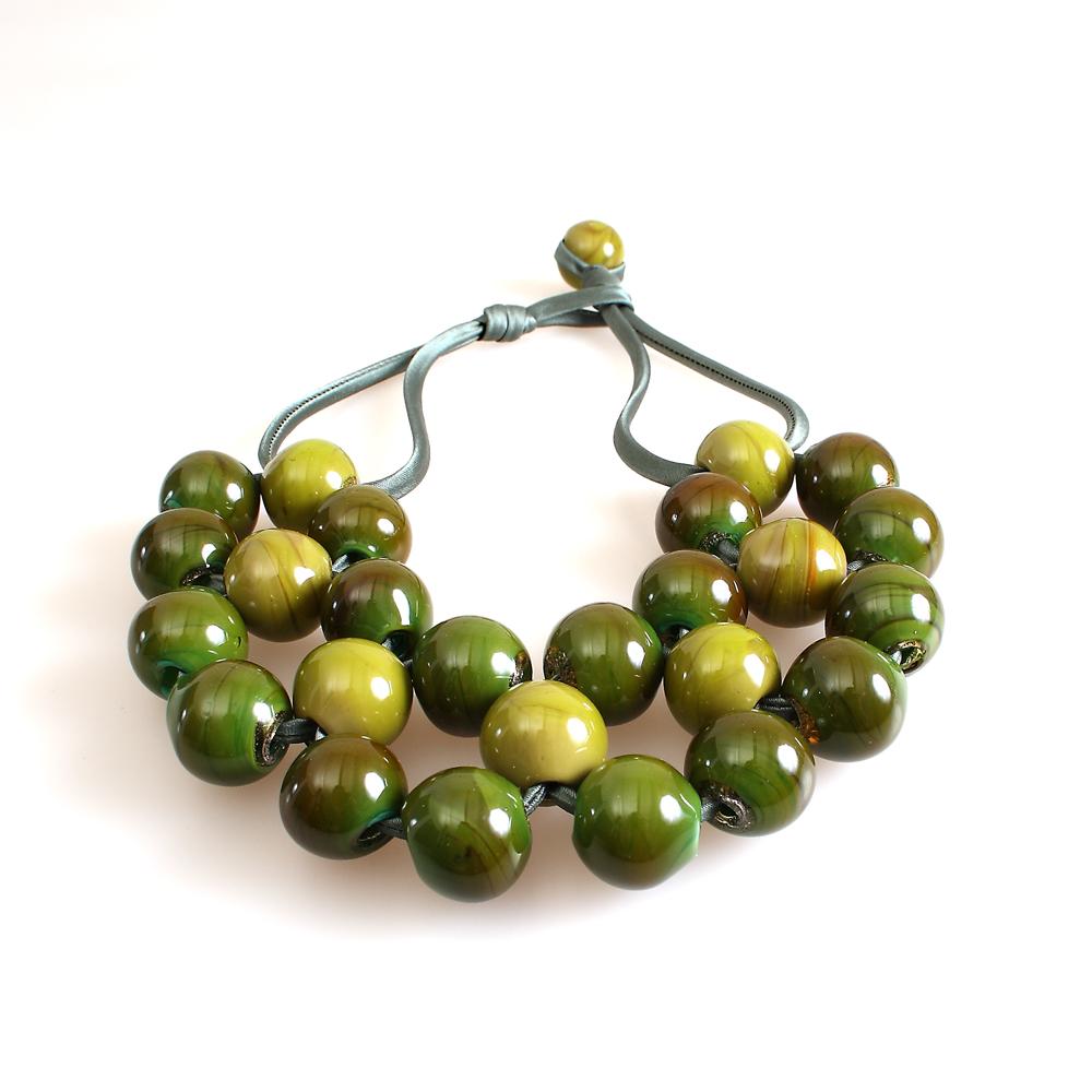 Green Venetian Murano Glass Bead Bracelet