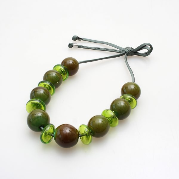 necklace venice murano glass tullia dark green