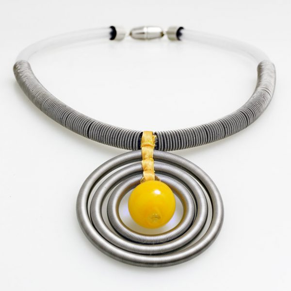 necklace venice murano glass uma yellow