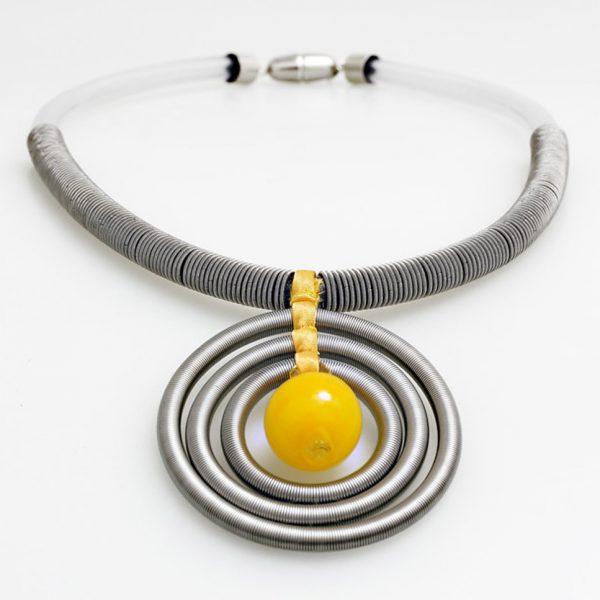 necklace venice murano glass uma yellow