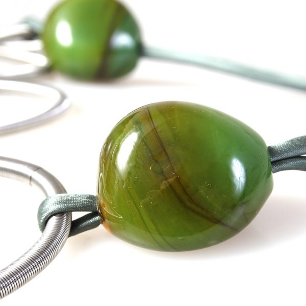 necklace venice murano glass valeria dark green